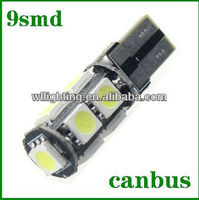 New design T10 W5W 5050 CANBUS 9 SMD Car Side Light color white 12v bulb