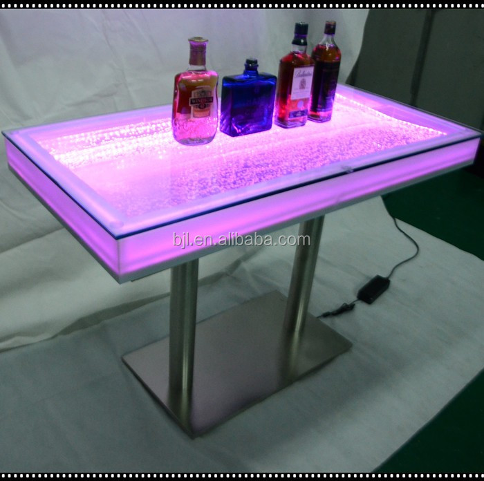 Led light acrylic water bubble glow dining table sets