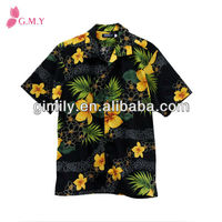 Cotton men slim fit floral shirts hawaiian shirts man costume