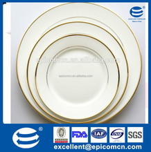 hotel, restaurant home round plate porcelain, ceramic dinnerware, China best home porcelain/good quality gold rim plate dishes