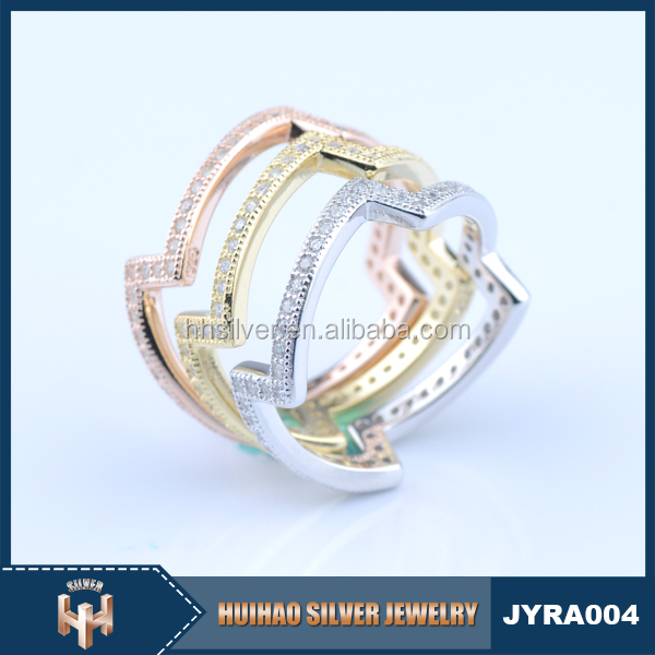 2016 NEW design women rose gold plated silver ring with cz