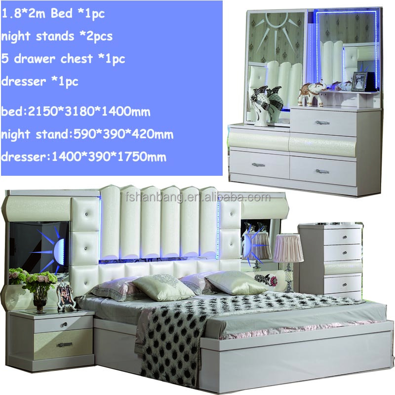 King Size Queen Size LED Leather Bed Modern LED Bedroom Furniture Set