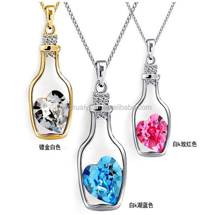 Fashion Austria Crystal Love Heart Vial Necklace For Girls Gift
