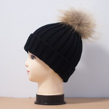 new fashion wholesale factory price mixed color wool hat with raccoon fur pompoms Knitted Beanie Hat