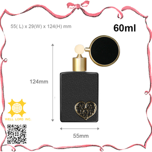 New Product golden heart matt on dark square glass atomizer bulb