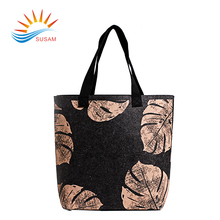 Simple design personality printed reusable shopping bag felt tote bag