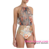 Retro Floral Mesh High-waisted Monokini young girls sex one piece swimwear