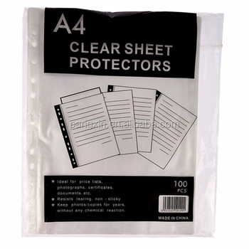 2015 China Supplier PP 11 Hole A4 Clear Sheet Protector Folder For Business