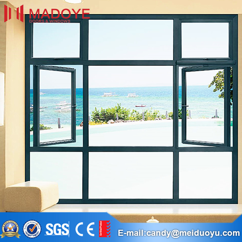 Windproof type low price casement window with clear glass