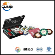 Custom Premium 300 pieces poker chip game set With Black Wooden Case