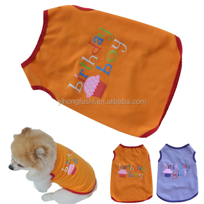 2016 Unisex Summer Pet Puppy Dog Cat Casual Clothes Boy Girl Birthday Cotton dog t shirt Vest pet clothes for small dog