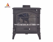 2018 cast iron Fireplace type freestanding cast iron wood burning stove with glass door