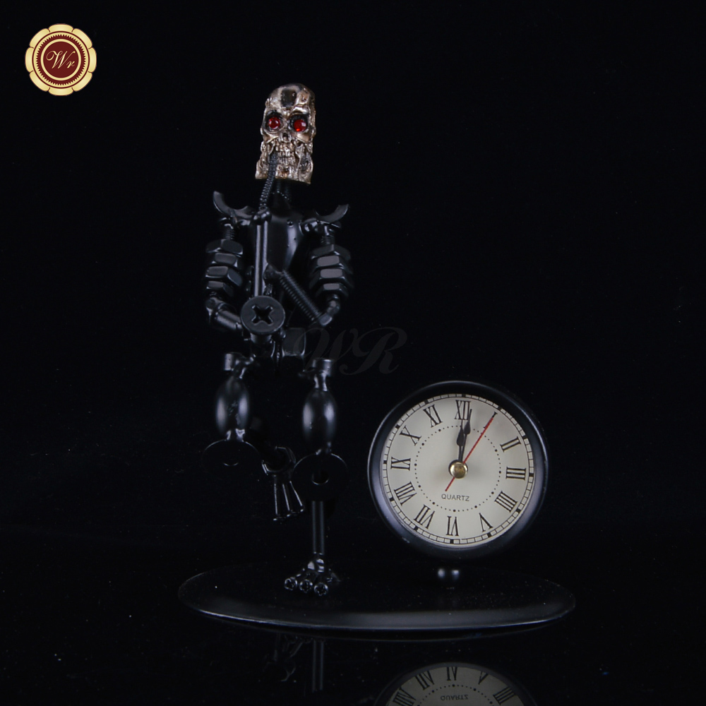 WR Band Musical Instrument Retro Metal Crafts Vintage Iron Skull Man with Clock Fashion Gifts Bar Office Desktop Decoration