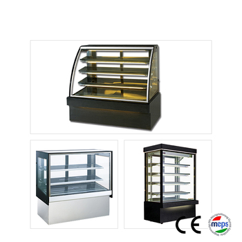 Commercial bakery display showcase chocolate cake fridge curved glass freezer