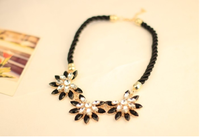 Western Style Multi-layer Weave Rhinestone Choker Necklace Jewelry for Women Statement Necklace
