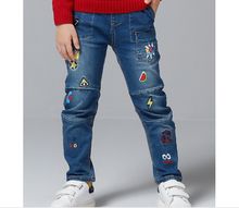 2017 winter printing and emboridery Cute Kids Boys Denim Jeans