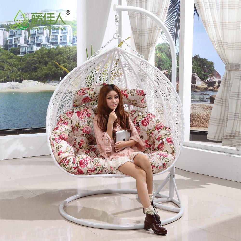 deux personne si ge en plein air int rieur osier rotin suspendus chaise oeuf swing avec support. Black Bedroom Furniture Sets. Home Design Ideas
