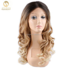 hot selling INVENTORY 22inch ombre blonde color wavy Japanese futura heat resistant fiber front lace synthetic wig