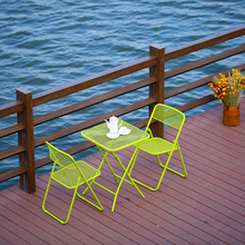 Yellow Steel Mesh Folding Outdoor Table And Chairs Patio Furniture