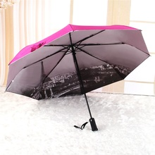 2018 New invention 21inch*8K LED lamp 3 fold umbrella with Auto open and close
