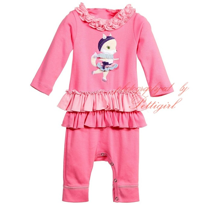 Pettigirl Ruffle Girls Pink Fox Babygrow Full Sleeve Strong Kids