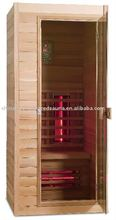 mini size infrared sauna room , easy install red glass heater sauna cabin