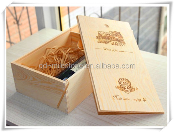 Two Bottle Unfinished Wooden Wine Box/Customize Acceptable