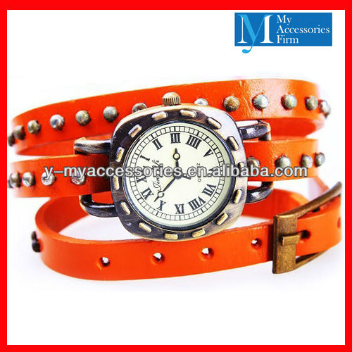 Genuine leather strap watch stud leather wrist