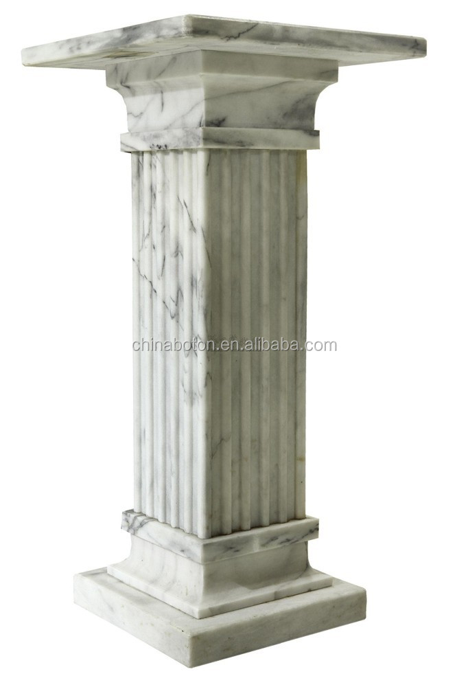 Outdoor roman marble stone gate pillar design,square pillar design