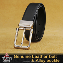 Genuine Leather Belt alloy black pin reversible Buckle double side use Waist Strap Belts Waistband