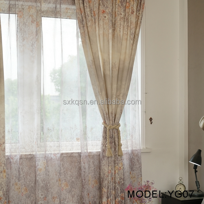 2018 High quality stock cheap flocking fabric sheer curtain