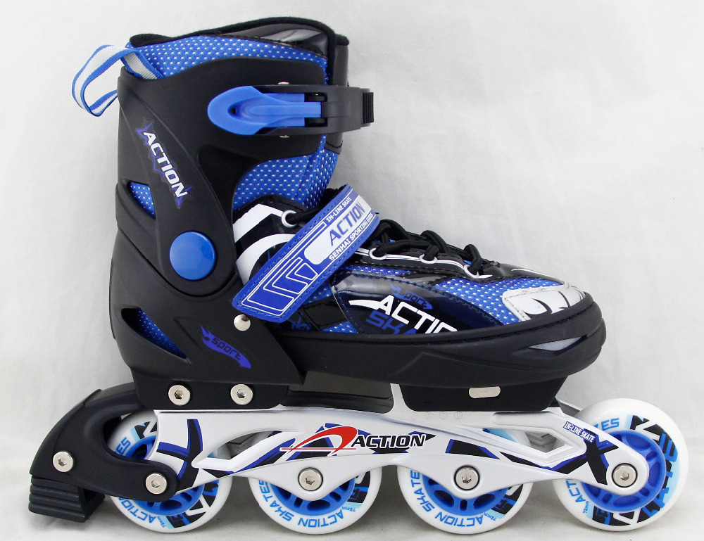 ACTION brand Roller Skate Shoes PW-151B Blue Inline Skate Shoe Flashing Roller Speed Skate