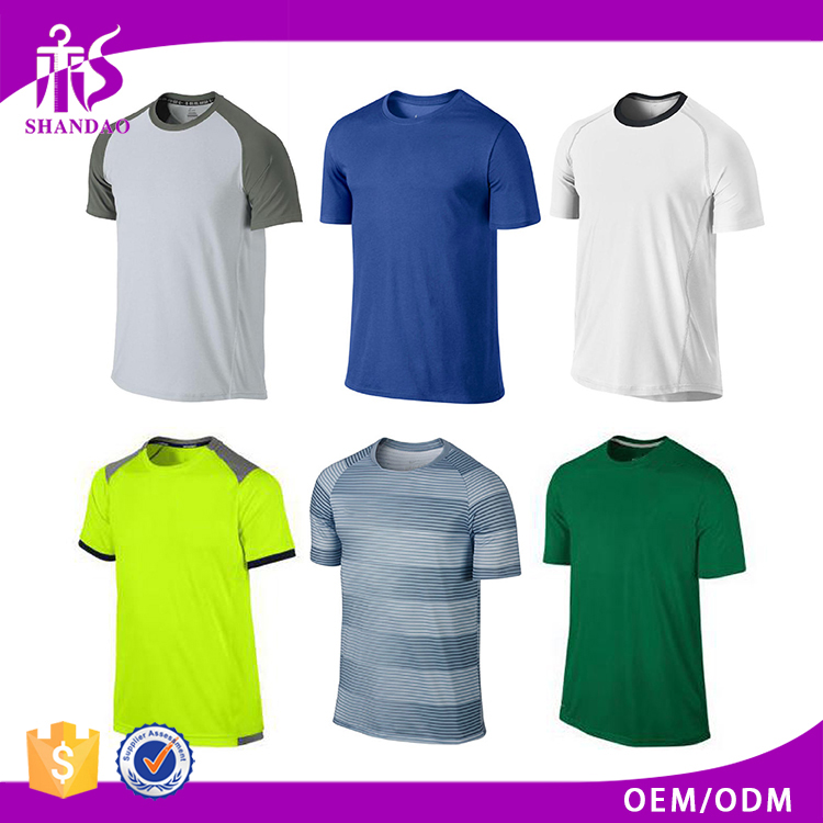Guangzhou Shandao 180g Polyester Casual Plain Crew Neck Short Sleeve Men Dry Fit Muscle T-Shirts