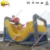 PVC material and inflatable curved wave slide type inflatable hop slide