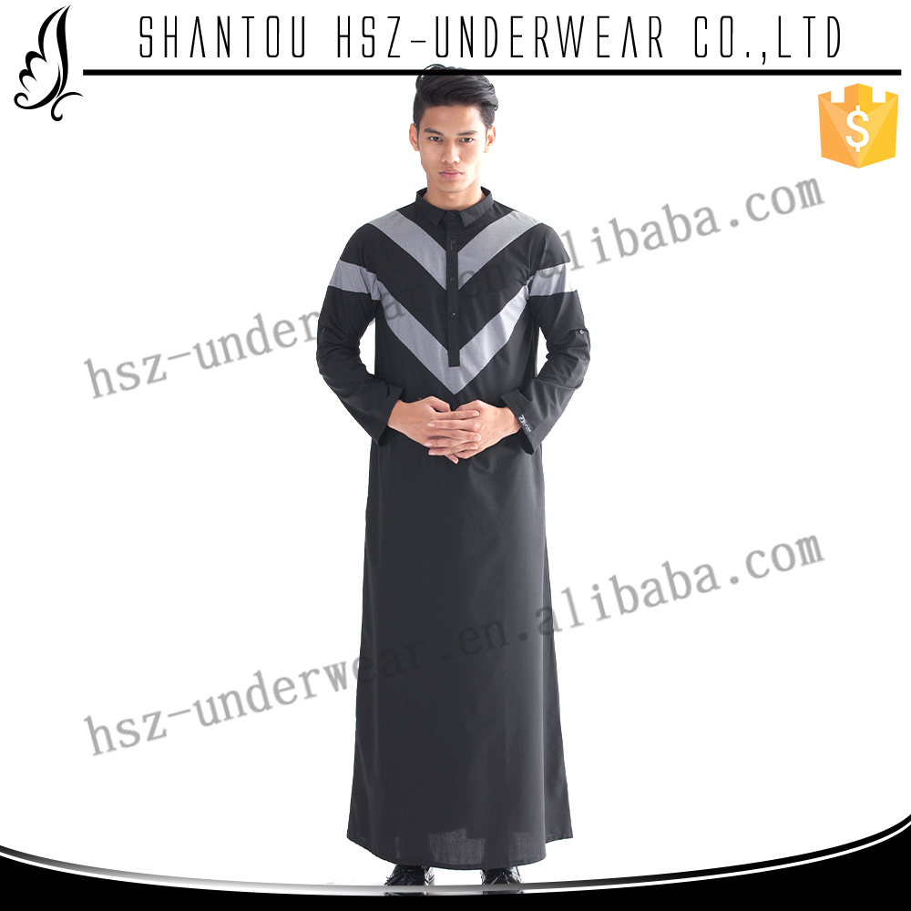 MD M002 Hot sale muslim long sleeve maxi dubai thobe for men High quality muslim al daffah thobe Modern design muslim arab thobe