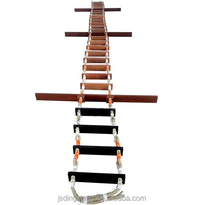 Marine emergency use climbing wooden rope ladder