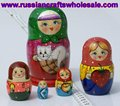 Russian Nested Dolls Wooden Matrioshka with Ethnic Ornament, Folk Art and Crafts Wholesale