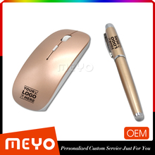 Modern remote mouse with metal capped pen golden classical gift set