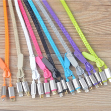 Innovative design mulitfuction Zipper USB Cable for iPhone and Micro phone