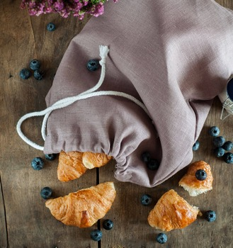Lavender handmade natural linen produce bread drawstring bag