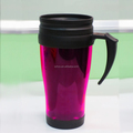 Double wall plastic tea drinking mug, thermal coffee mug with logo