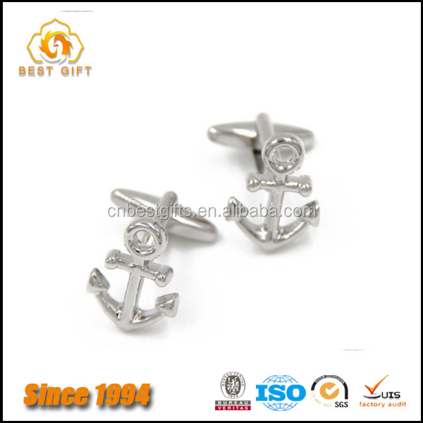 Wholesale Best Seller Mens Accessories Silver Plated Anchor Shaped cufflinks