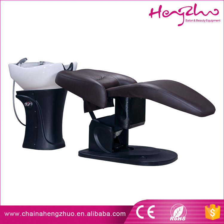 Leather salon furniture Strong motor adjust wash hair Shampoo Bowl Bed with footrest