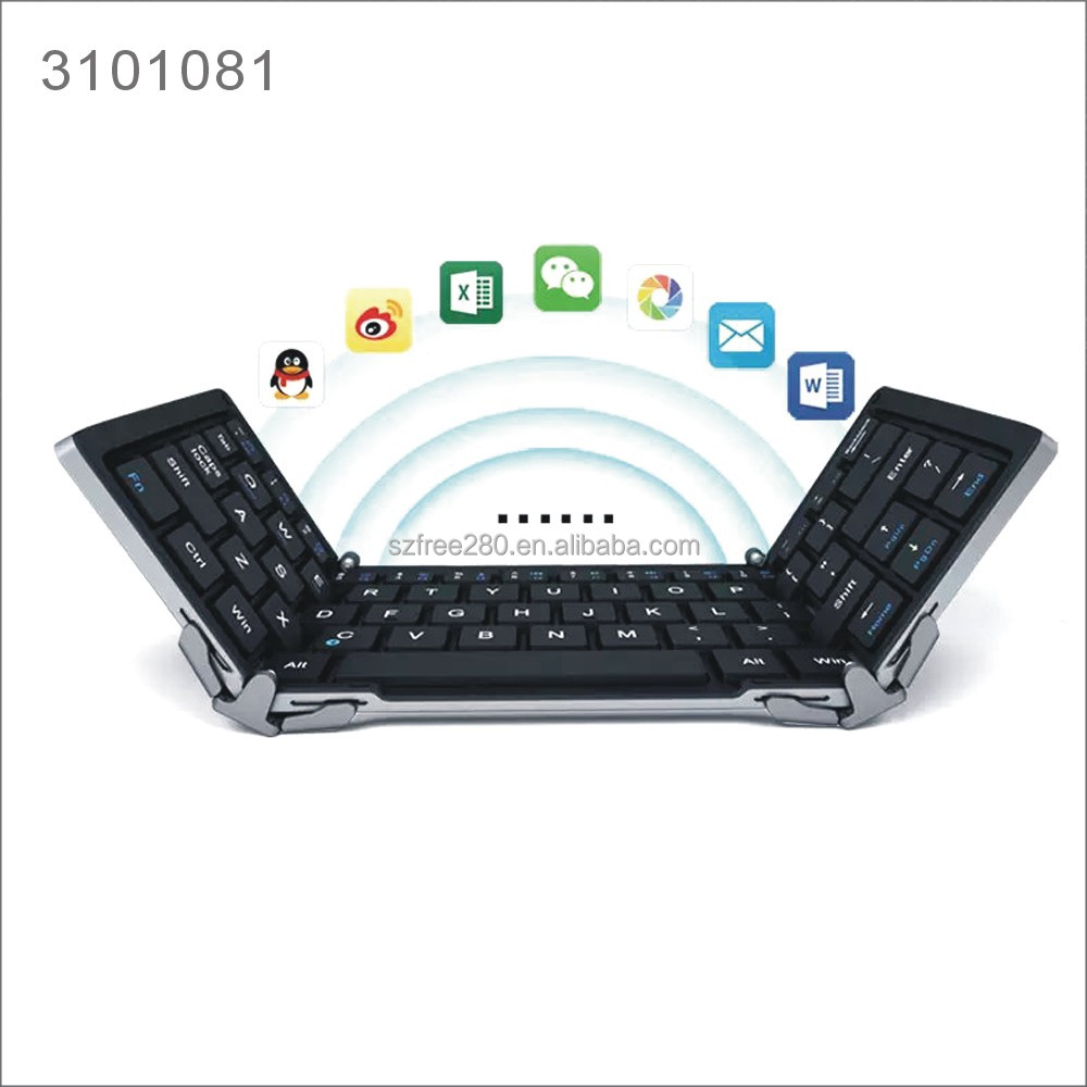 Tri-fold Aluminum Mini Folding/Foldable Wireless Bluetooth Keyboard For Android Wireless Bluetooth Keyboard for iPad
