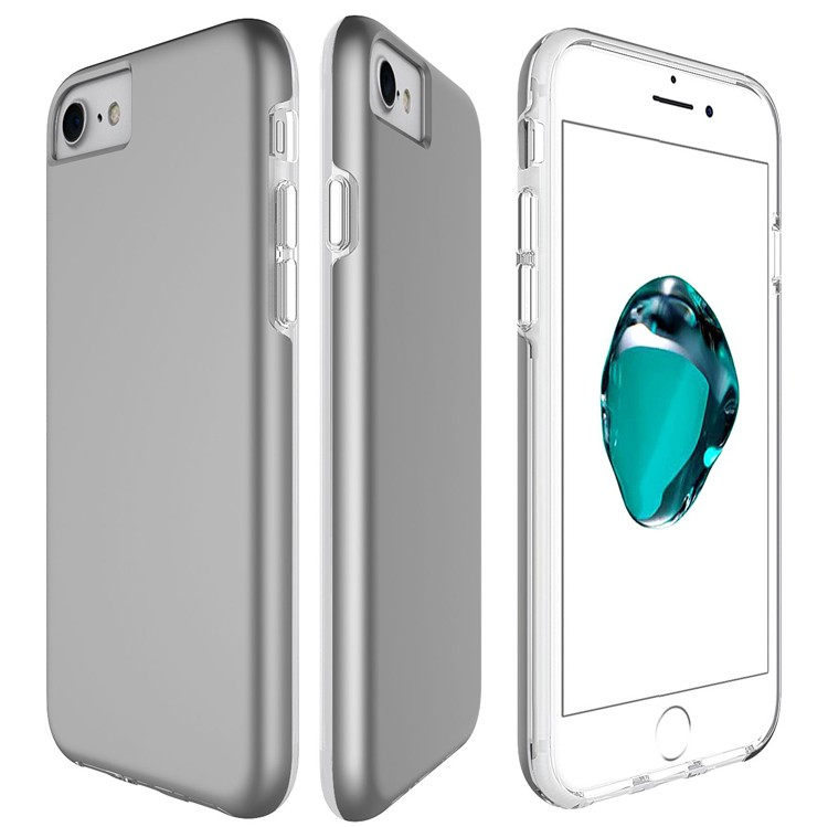 Hot sell clear slim tpu pc phone case for iphone 7 with matte bumper