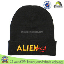 wholesale custom embroidered knitted cheap mens 100 cotton beanie hat