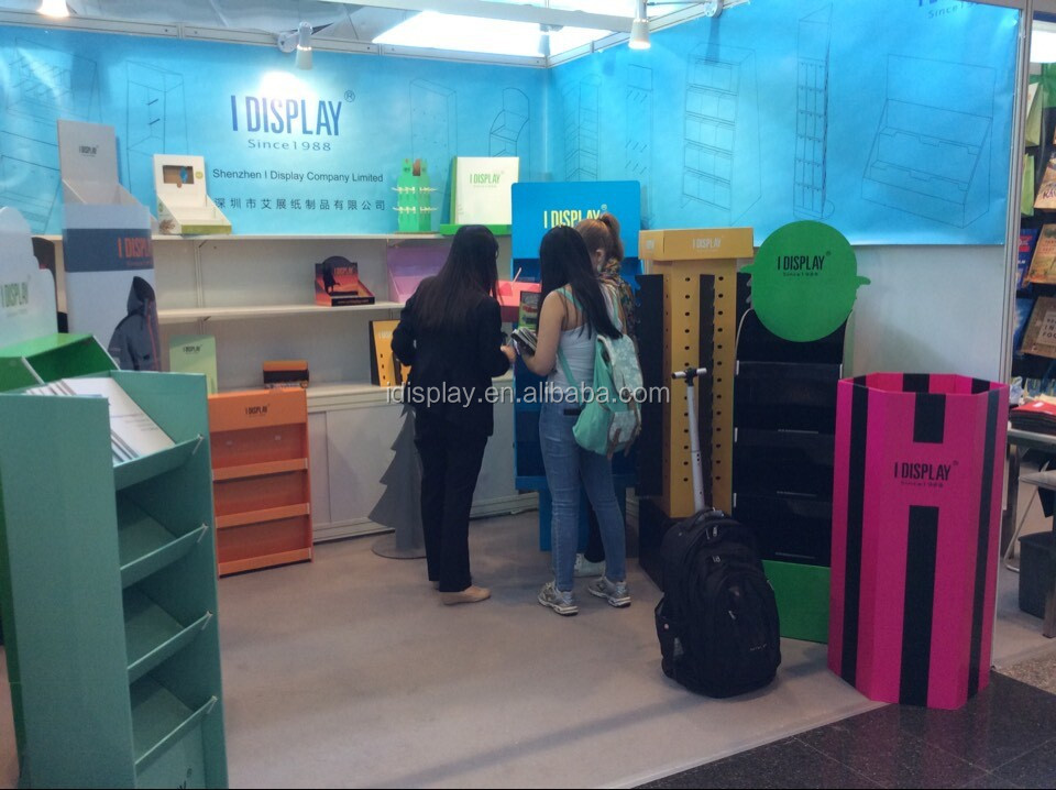High Quality corrugated cardboard floor display stand for magzine and news Paper