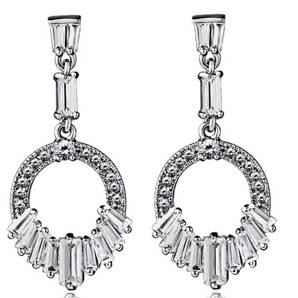 AAA stone drop earrings tassel good quality hot sale fashion wholesale wedding zircon drop earring