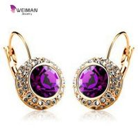 Vintage Fashion Stud Earrings For Women brinco New Statement Jewelry Unique Round Crystal Gold Plated Earring