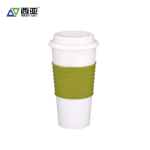 Custom logo reusable no handle 500ml plastic silicone coffee cup lids with sleeve